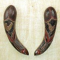 African wood masks, 'Chicken Duo' (pair) - Pair of African Wood Masks in Black Red and Brown