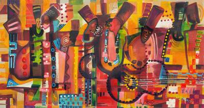 'Open Concert' - Colorful Expressionist Musical Painting from Ghana