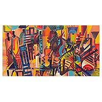 'Hawker's Profile' - Colorful Expressionist Market Scene Painting from Ghana