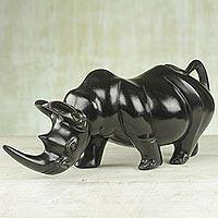 Ebony sculpture, 'Hardy Rhinoceros' - Handcrafted Ebony Wood Rhinoceros Sculpture from Ghana