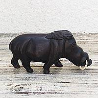 Ebony sculpture, 'Wild Warthog' - Handcrafted Ebony Wood Warthog Sculpture from Ghana