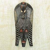 African wood mask, 'Elephant Glory' - Handcrafted Sese Wood and Aluminum Wall Mask from Ghana