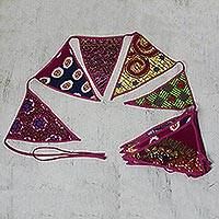 Cotton bunting, 'African Patterns in Rose' - Cotton Bunting in Rose with African Motifs from Ghana