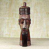 African wood mask, 'Beaded Hat' - Sese Wood Aluminum Glass Beaded Mask from Ghana