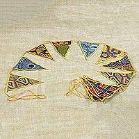 Cotton bunting, 'African Patterns in Daffodil' - Cotton Bunting in Daffodil with African Motifs from Ghana