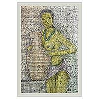 'By The River' - Signed Modern Painting of a Woman with a Pot from Ghana