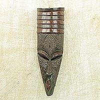 African wood mask, 'Victorious' - Hand Carved West African Wood Wall Mask from Ghana