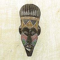 African wood mask, 'King's Decision' - African Sese Wood Mask with Multicolor Accents from Ghana