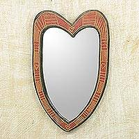 Wood wall mirror, 'Texture of Love' - Handcrafted Wood Heart-Shaped Wall Mirror from Ghana