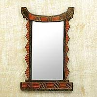 Wood wall mirror, 'Ghanaian Throne' - Handcrafted Wood Wall Mirror in Black and Red from Ghana