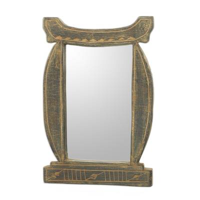 Handcrafted Antiqued Sese Wood Wall Mirror from Ghana