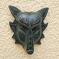 Wood mask, 'Forest Wolf' - Handcrafted Sese Wood Wolf Mask in Green from Ghana