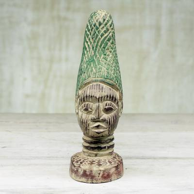 Wood sculpture, 'Mother of Benin in Green' - Handcrafted Sese Wood Bust Sculpture from Ghana