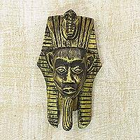 Wood mask, 'Egyptian Pharaoh' - Gold-Tone Sese Wood Pharaoh Wall Mask from Ghana