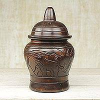 Wood decorative jar, 'Reign of Elephants' - Sese Wood Decorative Jar with Elephant Designs from Ghana