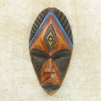 African wood mask, 'Jabu' - Hand Carved African Sese Wood Mask with Brass Plate