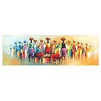'Work and Happiness II' - Impressionist Painting of People at a Market from Ghana