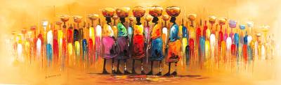 'Village Trade Square II' - Impressionist Painting of People at a Market from Ghana