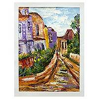 'Bright Path' - Original Expressionist Painting of a Small Town in Ghana