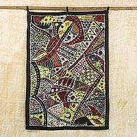 Batik cotton wall hanging, 'Romantic Africa' - Batik Cotton Wall Hanging with Cultural Motifs from Ghana
