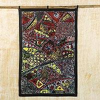 Batik cotton wall hanging, 'African Mystery' - Batik Cotton Wall Hanging with Cultural Motifs from Ghana