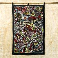 Batik cotton wall hanging, 'Market Melody' - Batik Cotton Wall Hanging with Cultural Motifs from Ghana