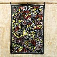 Batik cotton wall hanging, 'African Farmland' - Multicolored Cultural Batik Cotton Wall Hanging from Ghana