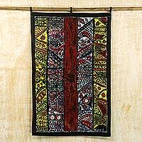 Batik cotton wall hanging, 'Origin of Africa' - Multicolored Batik Cotton Wall Hanging from Ghana