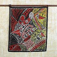 Batik cotton wall hanging, 'This is Intimacy' - Handmade Cotton Batik Wall Hanging Intimacy from Africa