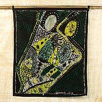 Batik cotton wall hanging, 'Music Merchants' - Batik Cotton Wall Hanging in Black and Yellow from Ghana