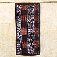 Batik cotton wall hanging, 'Traditional Affinity' - Batik Cotton Wall Hanging in Black White and Red from Ghana