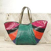 Leather shoulder bag, 'African Rainbow' - Handcrafted Colorful Leather Tote Handbag from Ghana