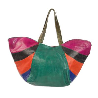 Handcrafted Colorful Leather Tote Handbag from Ghana