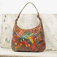 Leather hobo bag, 'Partying People' - Handcrafted Colorful Leather Hobo Bag from Ghana
