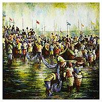 'Fishing Folks I' - Signed Impressionist Painting of Fishermen from Ghana