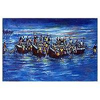 'At the Shore (Fishing Folks)' (2012) - Signed Blue Impressionist Painting of Fishermen from Ghana