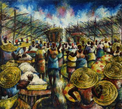 'Market in Colors' (2001) - Signed Impressionist Painting of a Market Scene from Ghana