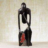 Wood sculpture, 'Wise Old Man' - Hand Carved Sese Wood Sculpture from Ghana