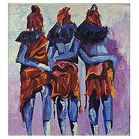 'Covenants of the Gods' (2016) - Signed Impressionist Painting of Three Figures from Ghana