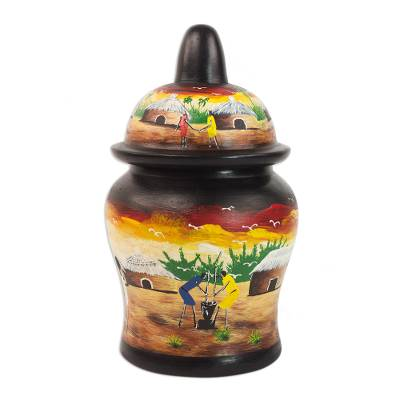 Hand-Painted Village Scene Wood Decorative Jar from Ghana