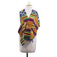 Cotton blend kente cloth shawl, 'Beautifully Colorful' - Handwoven Cotton Blend Kente Cloth Shawl from Ghana