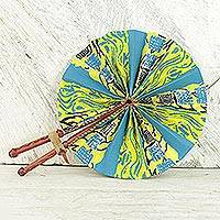 Cotton fan, 'African Wind' - 100% Cotton and Leather Handcrafted Fan from Ghana