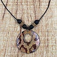 Wood pendant necklace, 'Anaconda' - Sese Wood Snakeskin Motif Pendant Necklace from Ghana