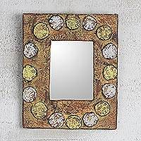 Wood wall mirror, 'Worlasi Rings' - Handcrafted Circle Design Sese Wood Wall Mirror from Ghana
