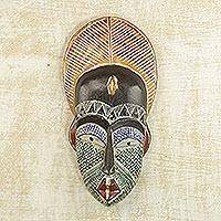 African wood mask, 'Peacock Man' - Handcrafted African Sese Wood and Aluminum Mask from Ghana