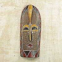 African wood mask, 'Mmere Pa' - Hand Crafted African Wood Mask with Painted Details