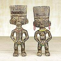Wood statuettes, 'Fertility Couple' (pair) - Pair of Wood and Recycled Glass Statuettes from Ghana