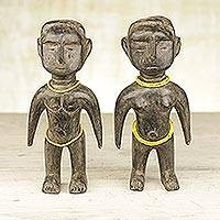 Wood figurines, 'Beaded Lovers' (pair) - Pair of Sese Wood and Recycled Glass Figurines from Ghana