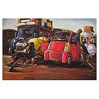 'Kejetia Palava' - Signed Expressionist Painting of People and Automobiles