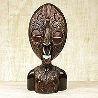 African wood mask, 'Lucky One' - Handcrafted Ghanaian Sese Wood and Aluminum Mask Sculpture